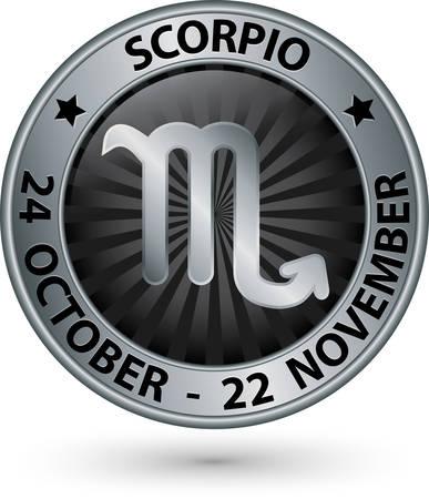 Scorpio zodiac silver sign, virgo symbol vector illustration
