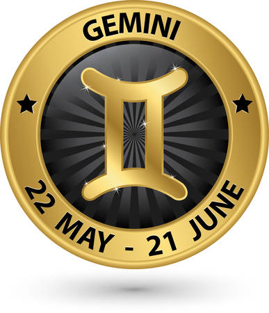 Gemini zodiac gold sign, gemini symbol vector illustration Vector