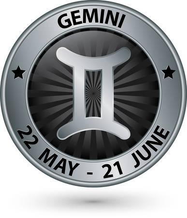 Plata signo del zodiaco géminis, símbolo de los géminis ilustración vectorial Ilustración de vector