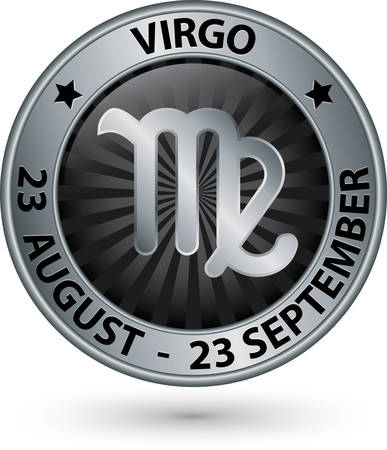 virgo zodiac sign: Virgo zodiac silver sign, virgo symbol vector illustration