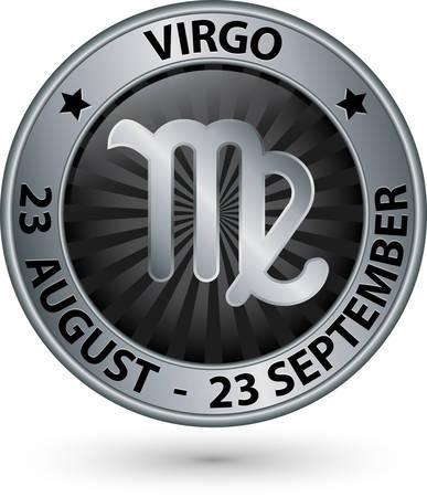 Virgo zodiac zilver teken, symbool van de Maagd vectorillustratie