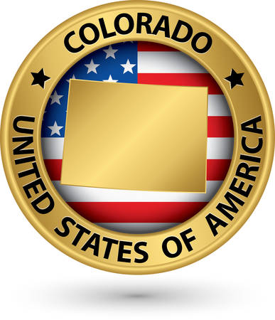 state of colorado: Colorado state gold label with state map