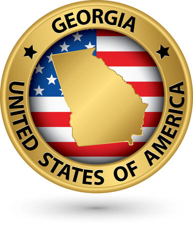 georgia flag: Georgia state gold label with state map Illustration