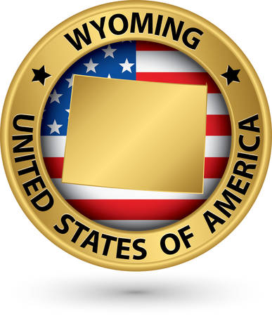 Wyoming state gold label with state map Illustration