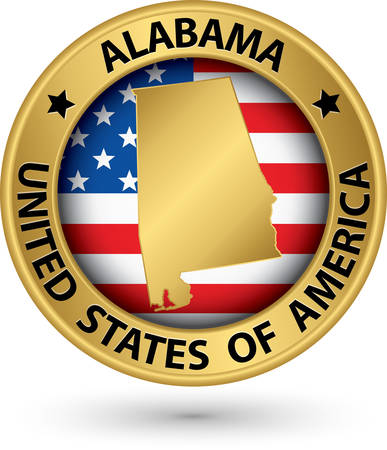 Alabama state gold label with state map Vector