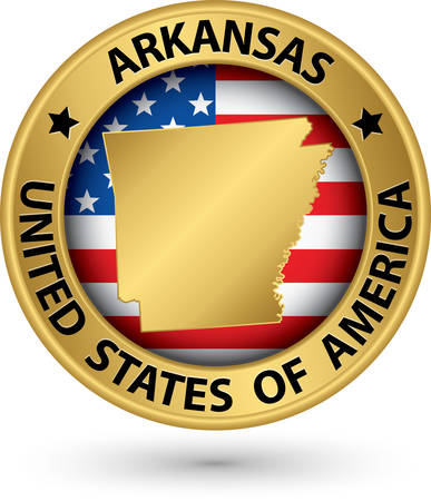 arkansas state map: Arkansas state gold label with state map