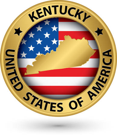 kentucky: Kentucky state gold label with state map Illustration