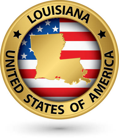 louisiana flag: Louisiana state gold label with state map
