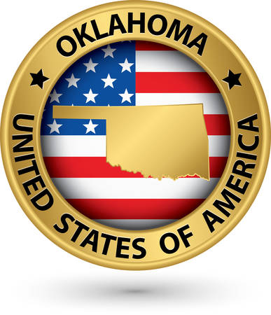 oklahoma: Oklahoma state gold label with state map Illustration