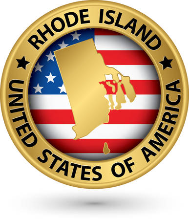 Rhode Island state gold label with state map Vector