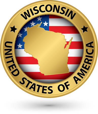 wisconsin flag: Wisconsin state gold label with state map