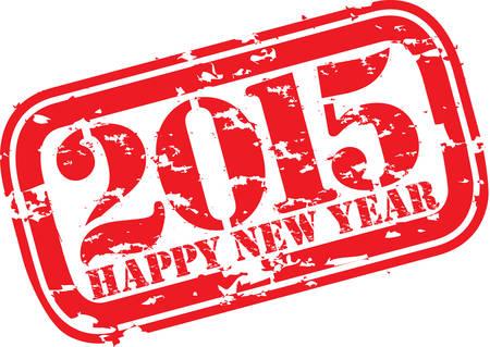 newyear: Feliz nuevo 2014 a�os grunge sello de goma, ilustraci�n vectorial Vectores