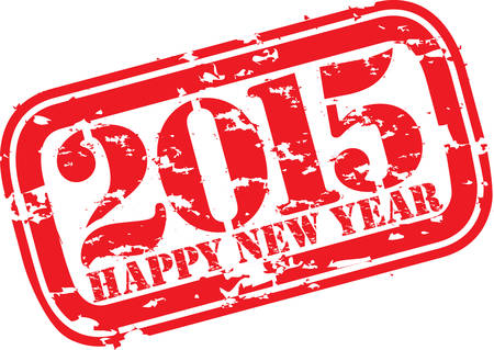 x mas party: Happy new 2014 year grunge rubber stamp, vector illustration