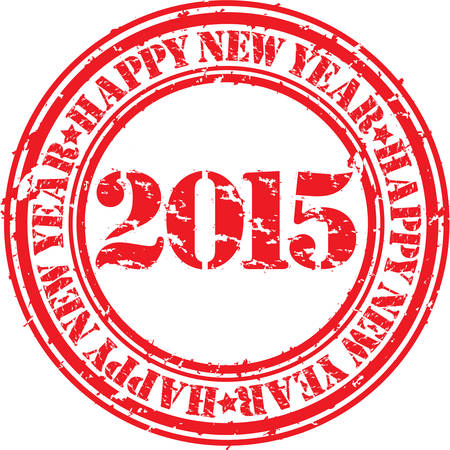 Happy new 2015 year grunge rubber stamp, vector illustration  Vector