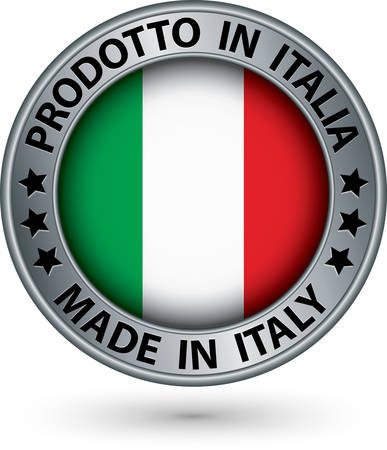 Made in Italy silver label with flag