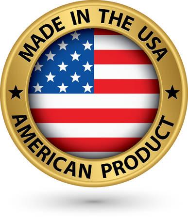 gemaakt: Gemaakt in de VS Amerikaanse product gouden label met vlag