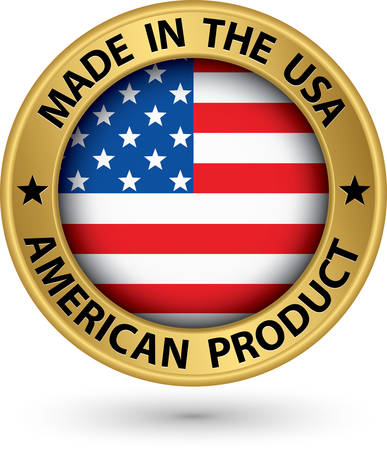 patriotic usa: Made in the USA american product gold label with flag Illustration