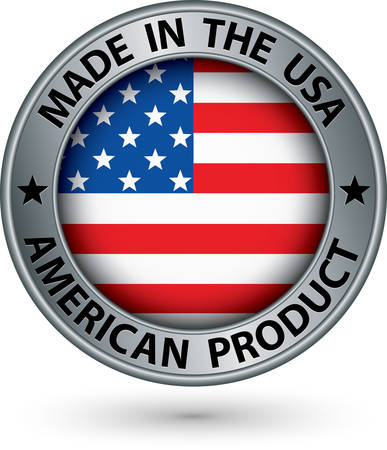 Made in the USA american product silver label with flag