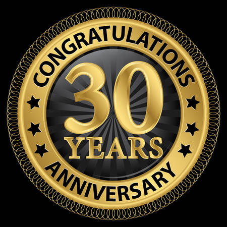 30 years anniversary congratulations gold label with ribbon, illustration