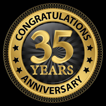 35 years: 35 years anniversary congratulations gold label with ribbon, illustration
