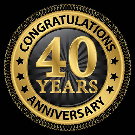 40: 40 years anniversary congratulations gold label with ribbon, illustration