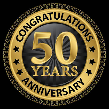 fifty: 50 years anniversary congratulations gold label with ribbon