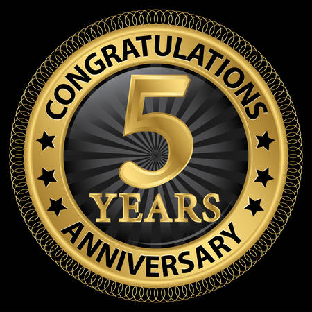 5th: 5 years anniversary congratulations gold label with ribbon Illustration