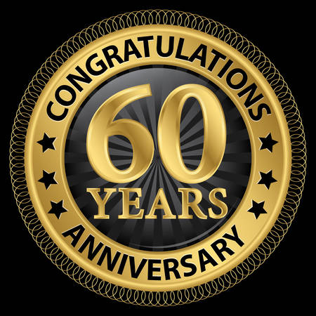 60 years: 60 years anniversary congratulations gold label with ribbon