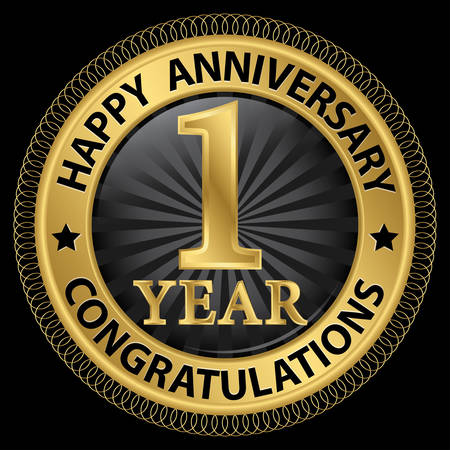 jubilee: 1 year happy anniversary congratulations gold label with ribbon, vector illustration