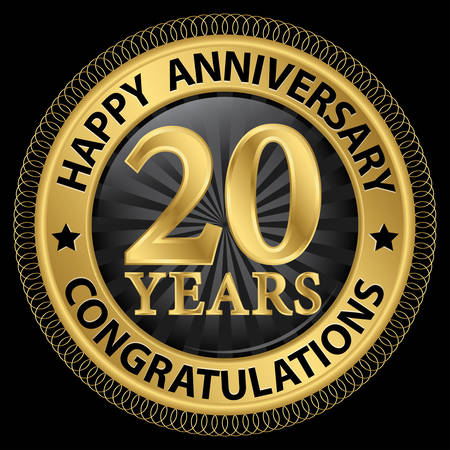 20th: 20 years happy anniversary congratulations gold label with ribbon, vector illustration