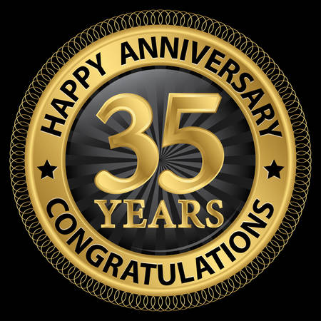 35th: 35 years happy anniversary congratulations gold label with ribbon, vector illustration