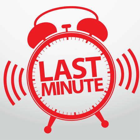 the last: Last minute alarm clock icon, vector illustration