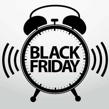 Black friday alarm clock icon, vector illustration Vector