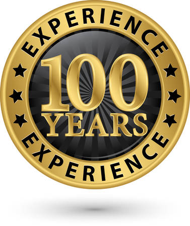 100 years experience gold label, vector illustration Vector