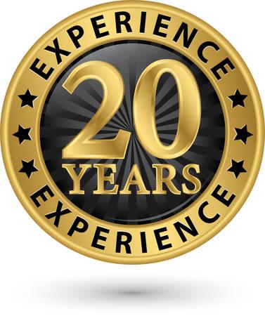 20 années d'expérience étiquette d'or, illustration vectorielle