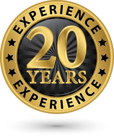 20 years experience gold label, vector illustration Stock Illustratie
