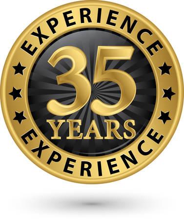 35 anni di esperienza etichetta oro, illustrazione vettoriale Archivio Fotografico - 33009638