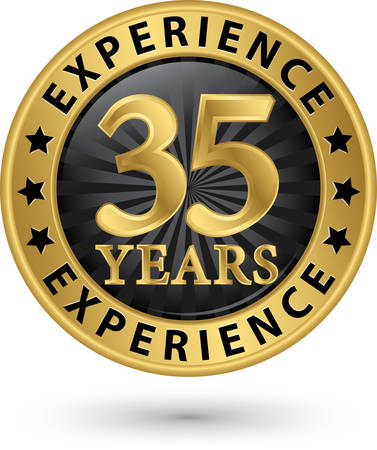 35: 35 years experience gold label, vector illustration