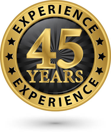 45 years experience gold label, vector illustration Vector