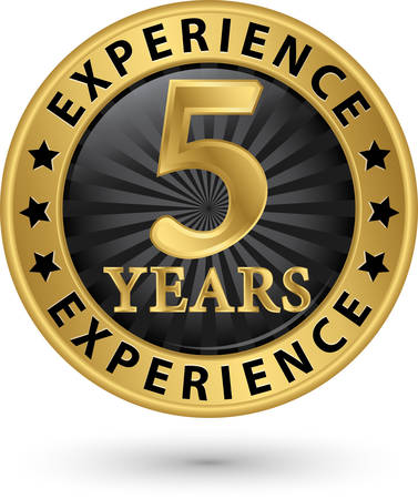 5th: 5 years experience gold label, vector illustration Illustration