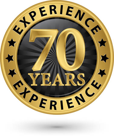 70: 70 years experience gold label, vector illustration