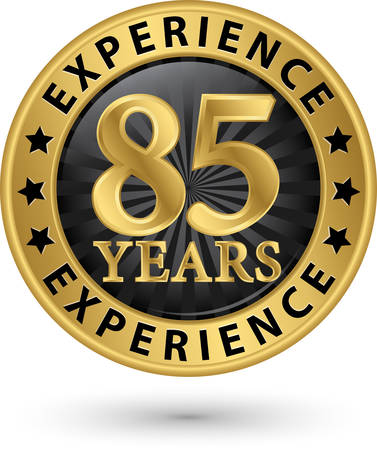 85 years experience gold label, vector illustration Vector