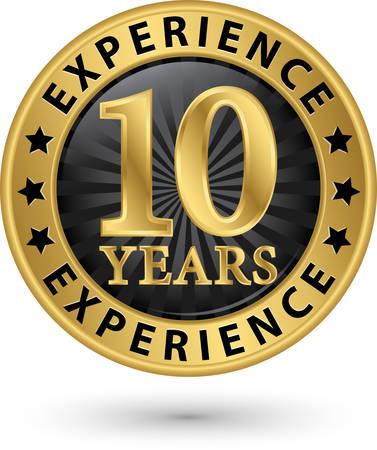 経験 10 年ゴールド ラベル、ベクトル イラスト