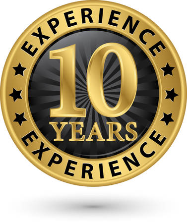 10 years experience gold label, vector illustration Vector