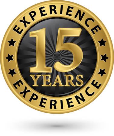 15 年ゴールド ラベル、ベクター グラフィックを経験します。  イラスト・ベクター素材