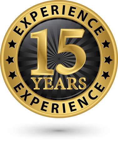 15: 15 years experience gold label, vector illustration