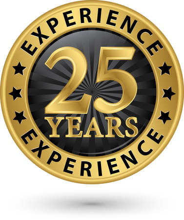 25 years experience gold label, vector illustration