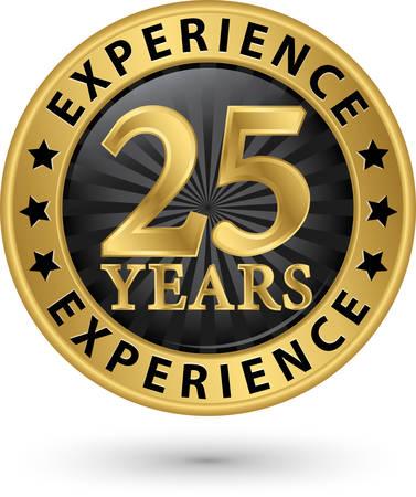 25 lat doświadczenia etykiety złota, ilustracji wektorowych