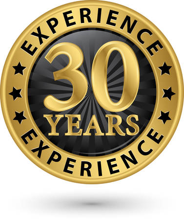 30 years: 30 years experience gold label, vector illustration