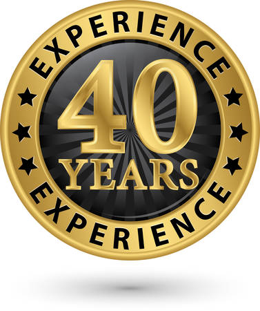 40 years experience gold label, vector illustration